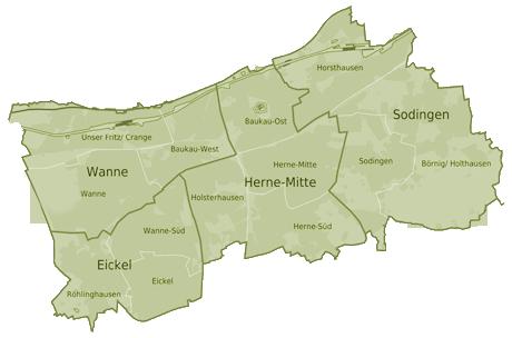 Stadtteile von Herne